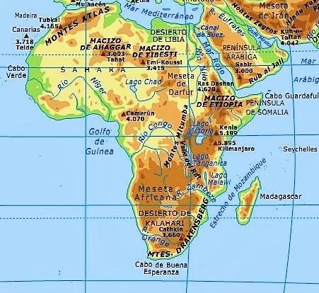 mapa fisico africa nombres español