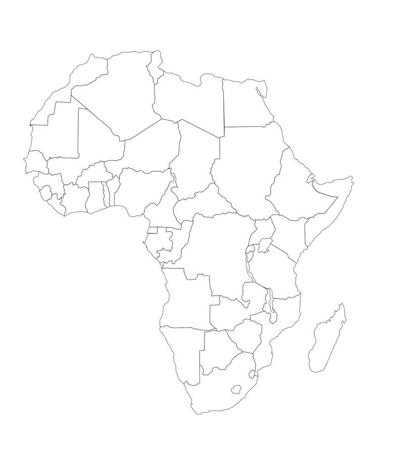 mapa continente africano colorear
