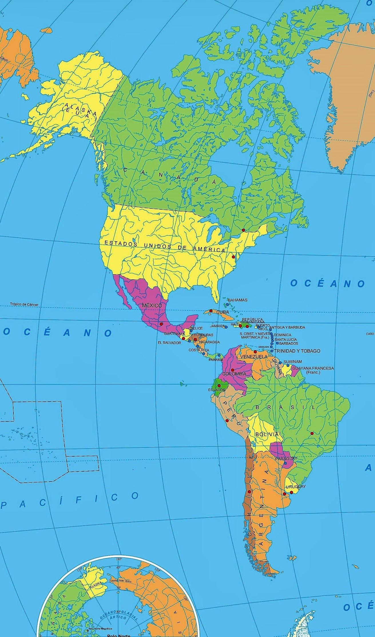 mapa america nombres espanol