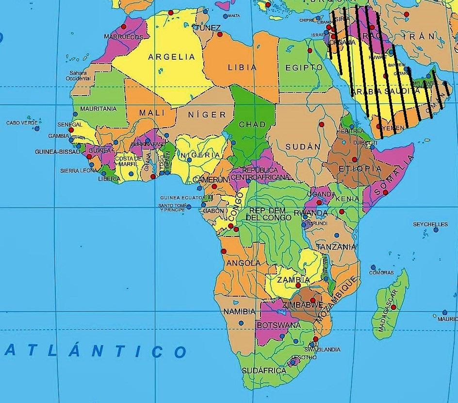 mapa politico africa nombres español