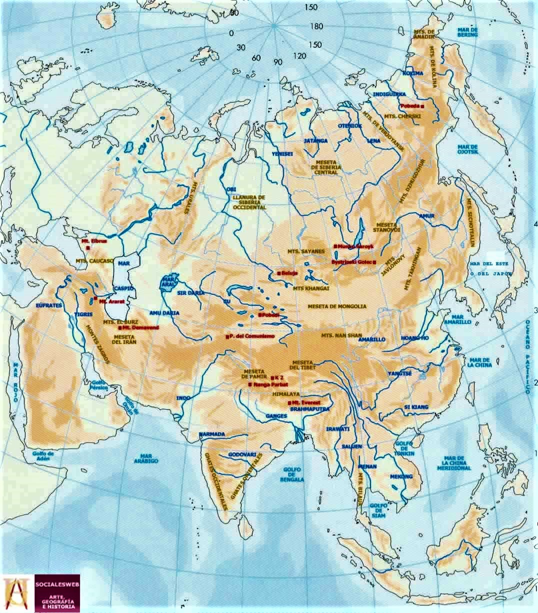 mapa asia fisico con rios