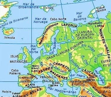 mapa europa fisico nombres español