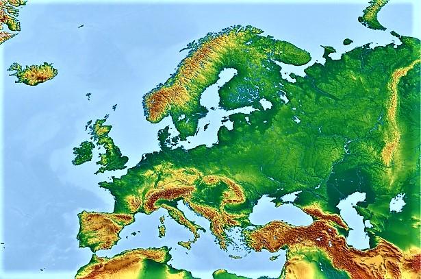 mapa europa mudo fisico color