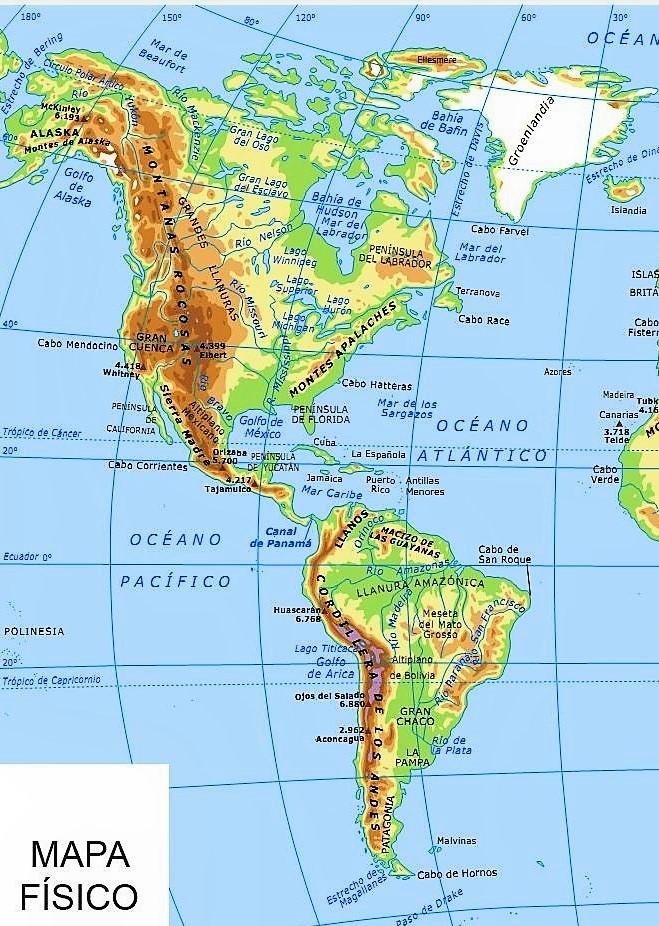 Mapa Fisico De America.Mapa De America Mapas Del Continente Americano