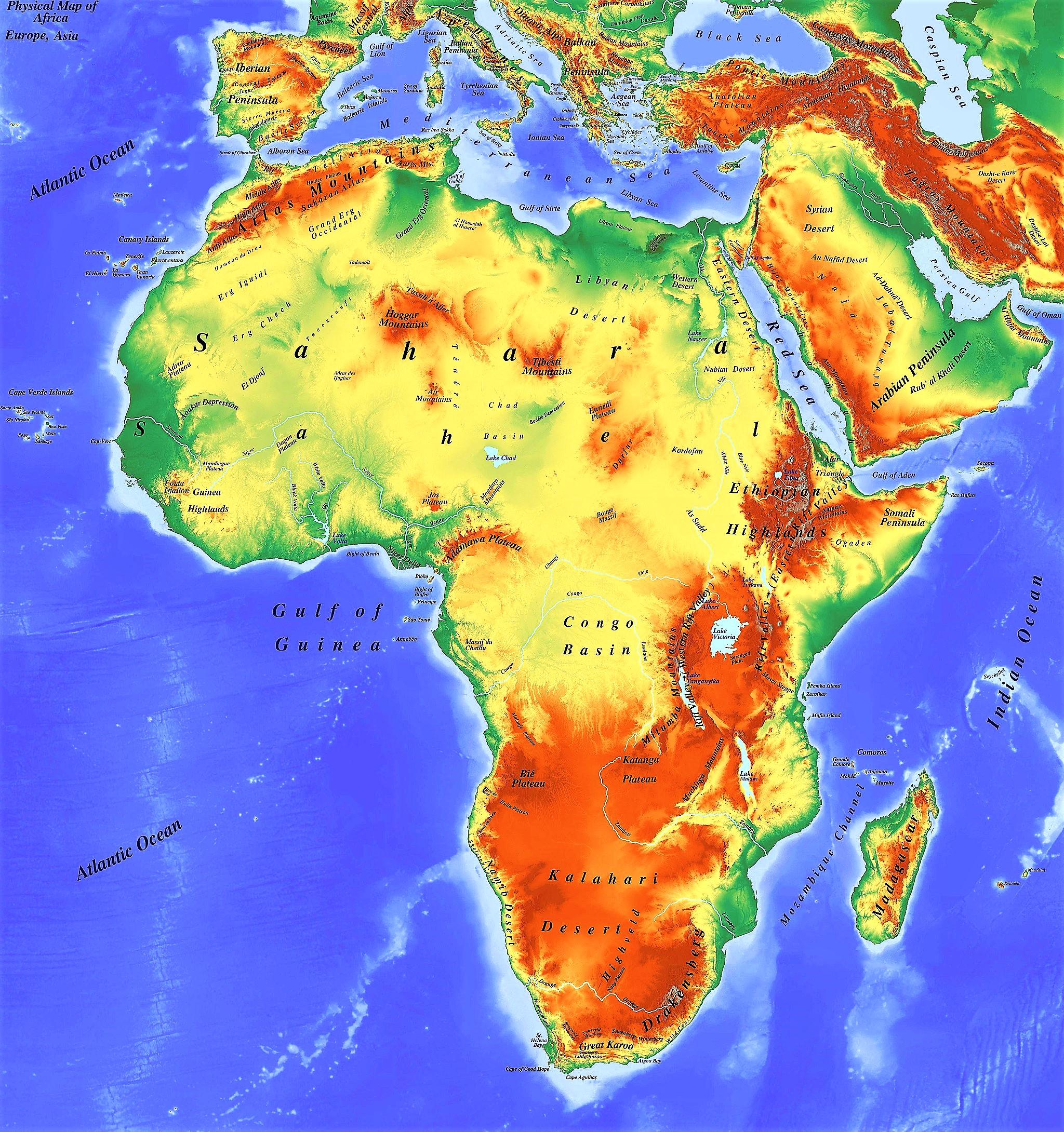 mapa fisico africa con nombres