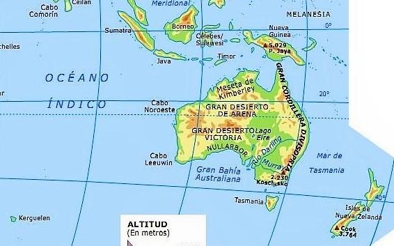 mapa fisico oceanis con nombres